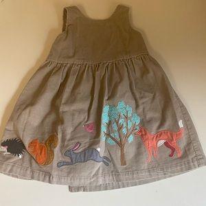 Baby Boden corduroy woodland creature dress